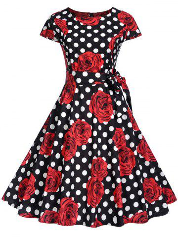 Vintage Polka Dot Floral Print Flare Dress