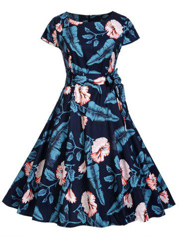 Vintage Floral Tropical Print Pin Up Dress