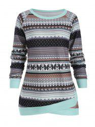 Abstract Pattern Plus Size Pullover Sweater -