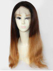 Free Part Ombre Straight Real Human Hair Lace Front Wig -