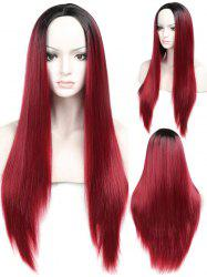 Long Ombre Middle Part Straight Capless Synthetic Wig -