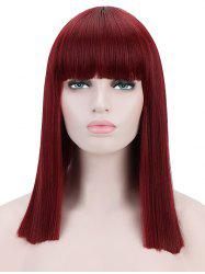 Full Bang Medium Blunt Straight Cosplay Synthetic Wig -