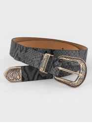 Retro Carved Buckle Faux Leather Belt -