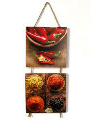 Seasoning Peppers Pattern Wooden Hanging Signs -