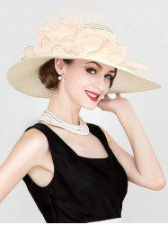 Ribbon Floral Wide Brim Church Hat -