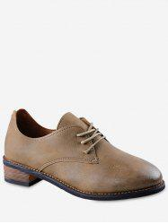 Low Heel Lacing Faux Leather Shoes -