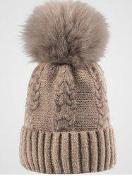 Winter Fuzzy Ball Embellished Knit Beanie -