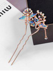Colored Rhinestone Inlaid Butterfly Hair Fork -