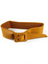 PU Leather Square Buckle Wide Belt -