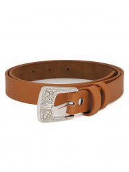 PU Leather Carving Pin Buckle Waist Belt -