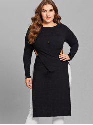 Side Slit Plus Size Cut Out Sweater -