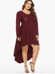 Sequin Embellished Plus Size High Low Party Dress -