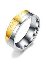 Stainless Steel Letter Inlaid Couple Ring -