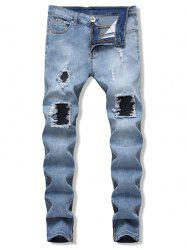 Ripped Side Zip Design Jeans -