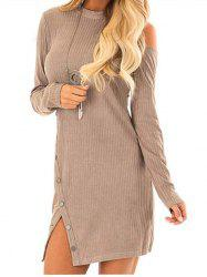 Knit Cut Out Long Sleeve Bodycon Dress -
