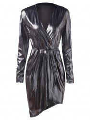 Plunging Neck Metallic Party Dress -