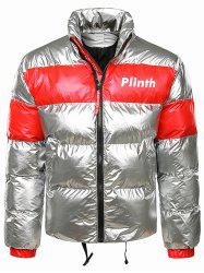 Letter Printed Shiny Color Spliced Padded Jacket -