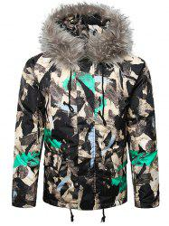 Paint Splatter Fur Hooded Drawstring Design Padded Jacket -