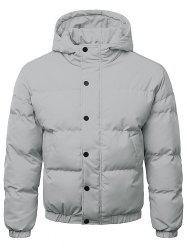Button Up Warmth Hooded Down Jacket -