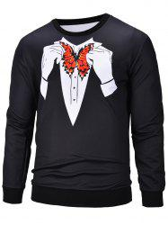 3D Butterfly Printed Crew Neck Pullover Sweatshirt -