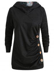 Long Sleeve Ruched Button Hoodie -