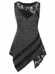 Plus Size Lace Insert Cut Out Asymmetric Marled Dress -