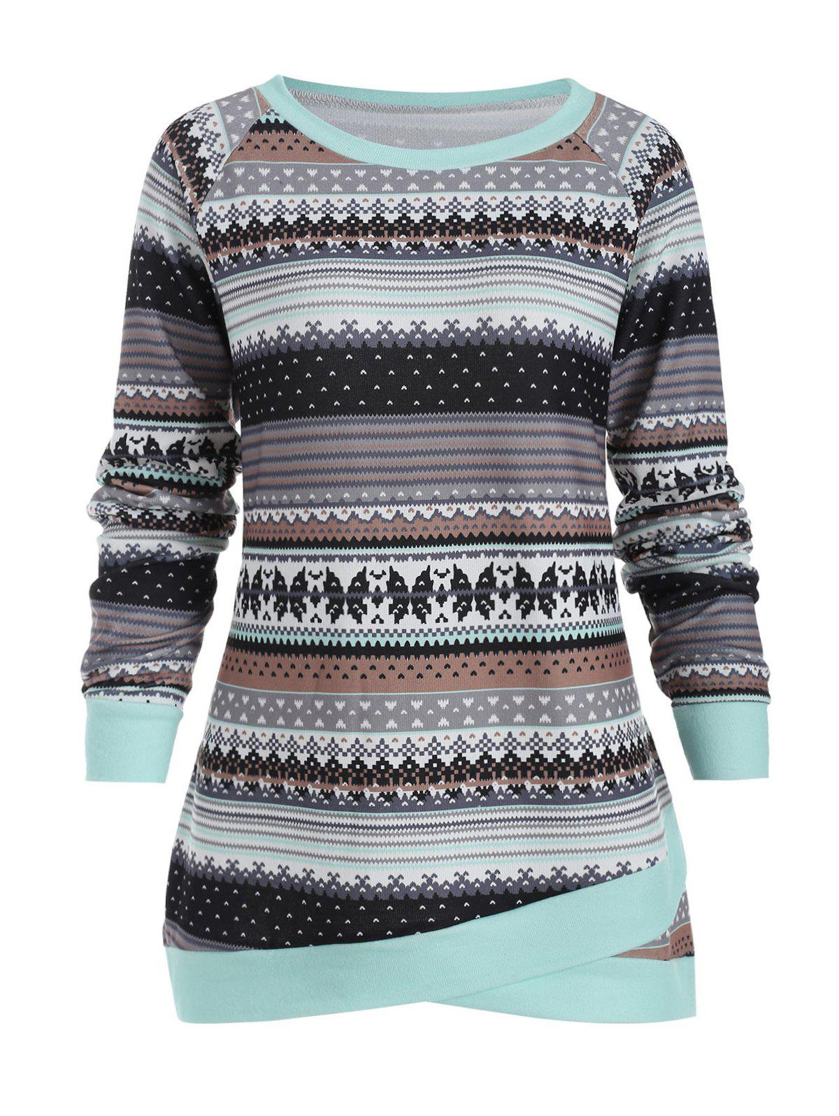 Affordable Abstract Pattern Plus Size Pullover Sweater