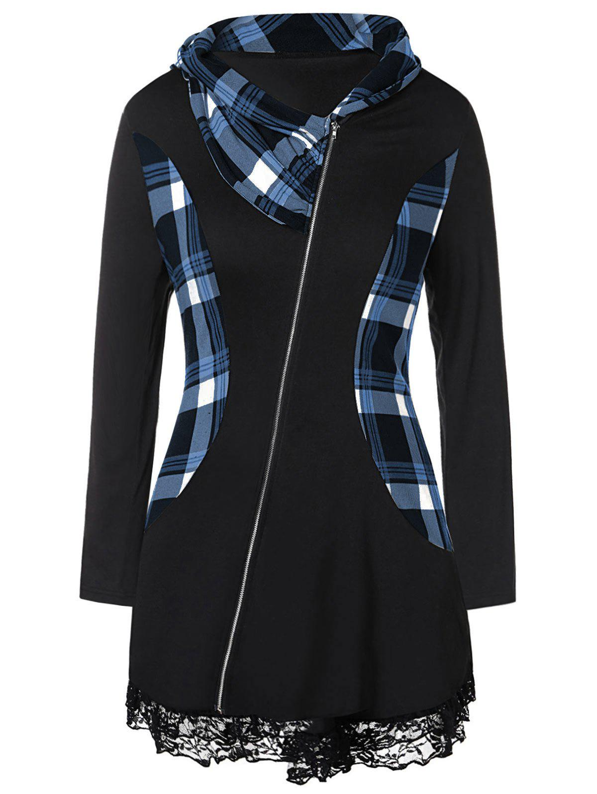 Affordable Plus Size Lace Insert Plaid Zip Fly  Coat