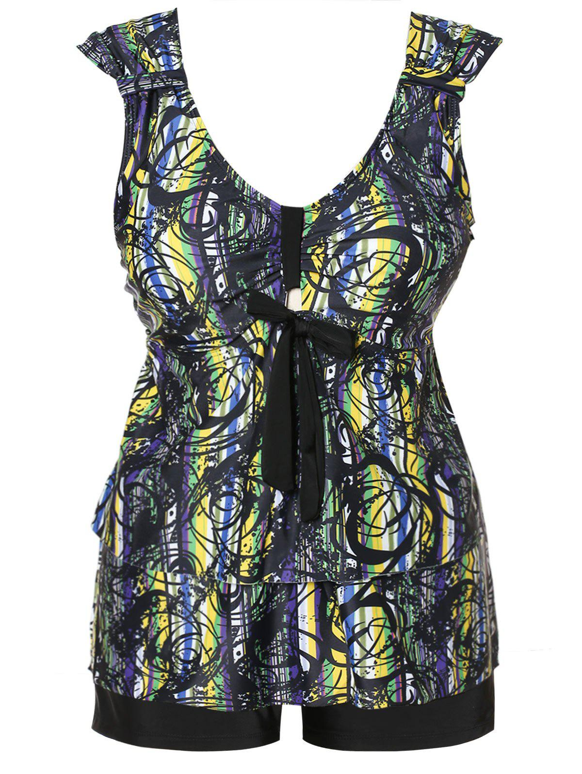 Outfit Plus Size Abstract Print Bowknot Layered Tankini Set