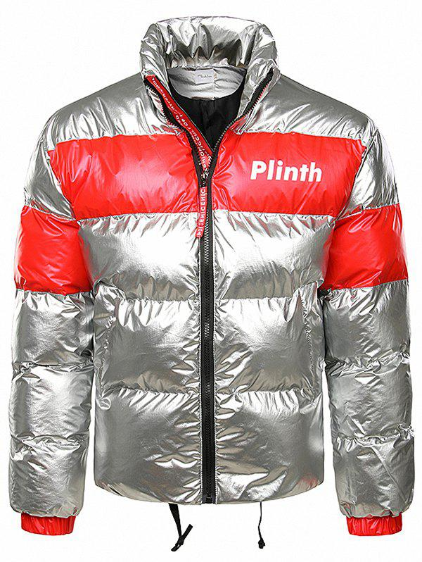 Trendy Letter Printed Shiny Color Spliced Padded Jacket