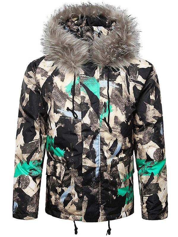 Cheap Paint Splatter Fur Hooded Drawstring Design Padded Jacket
