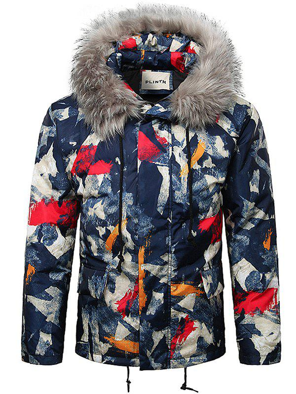 Outfit Paint Splatter Fur Hooded Drawstring Design Padded Jacket