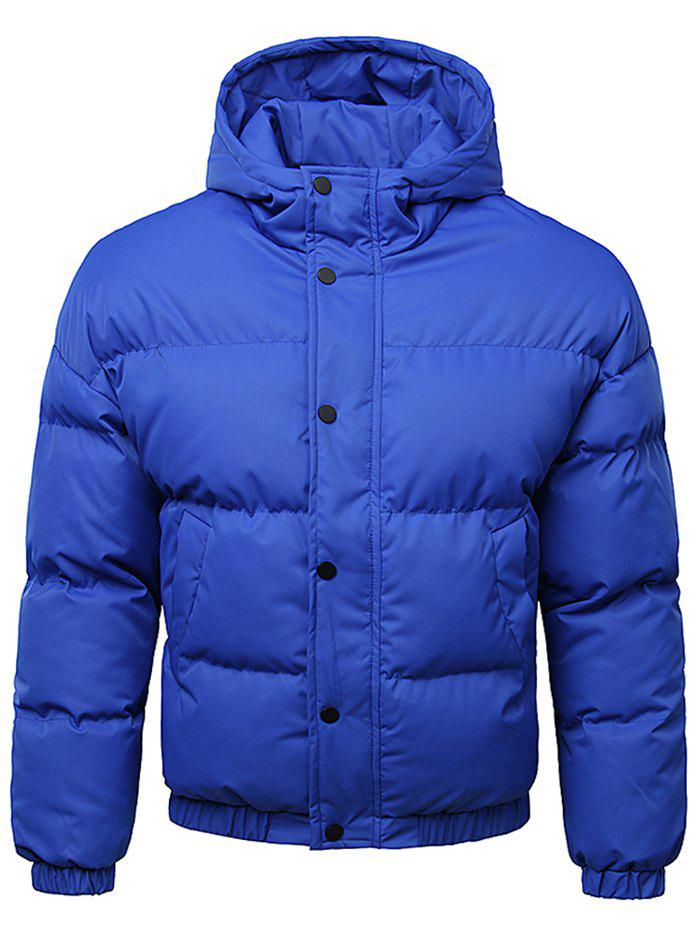Fancy Button Up Warmth Hooded Down Jacket
