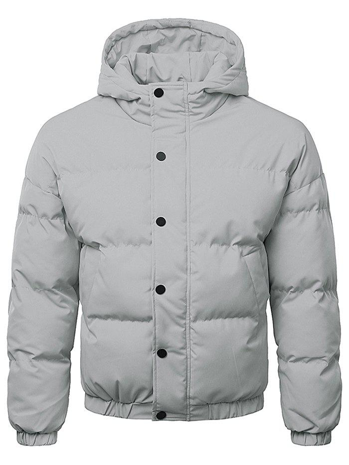 Cheap Button Up Warmth Hooded Down Jacket