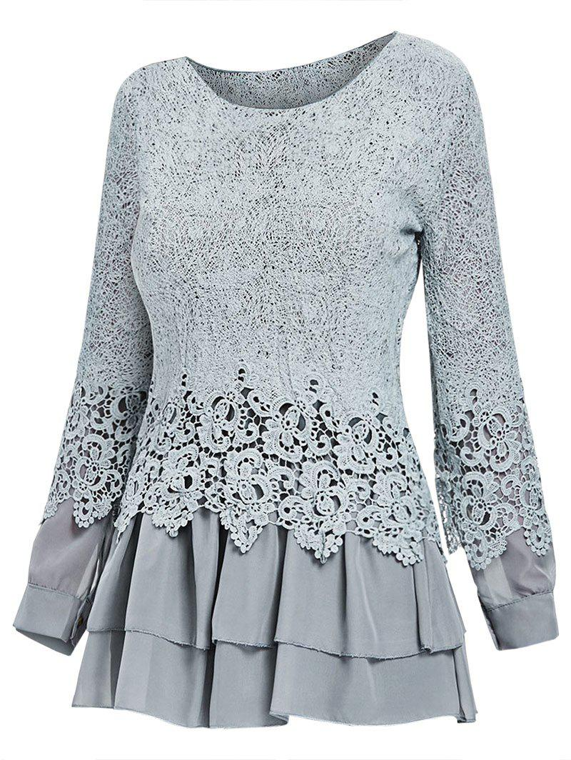 Fashion Lace Panel Long Sleeve Casual Top