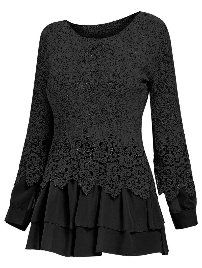 Latest Lace Panel Long Sleeve Casual Top