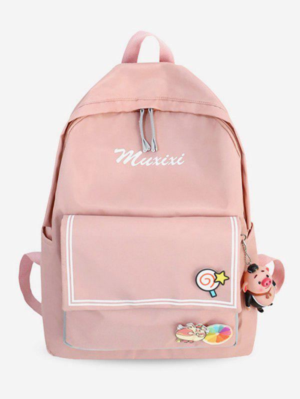 Discount Letter Printed Striped Backpack