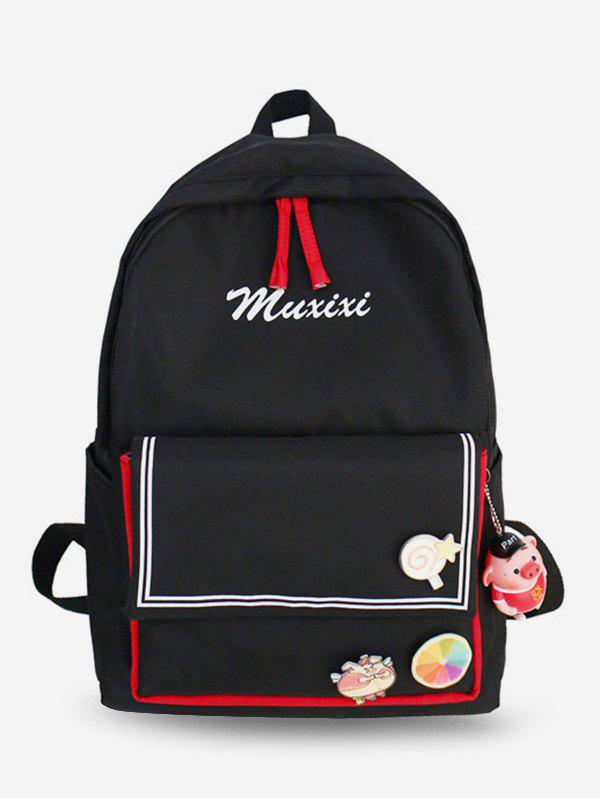 Store Letter Printed Striped Backpack