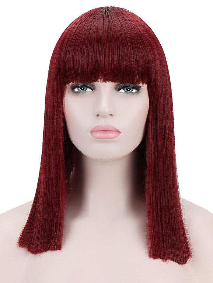 Chic Full Bang Medium Blunt Straight Cosplay Synthetic Wig