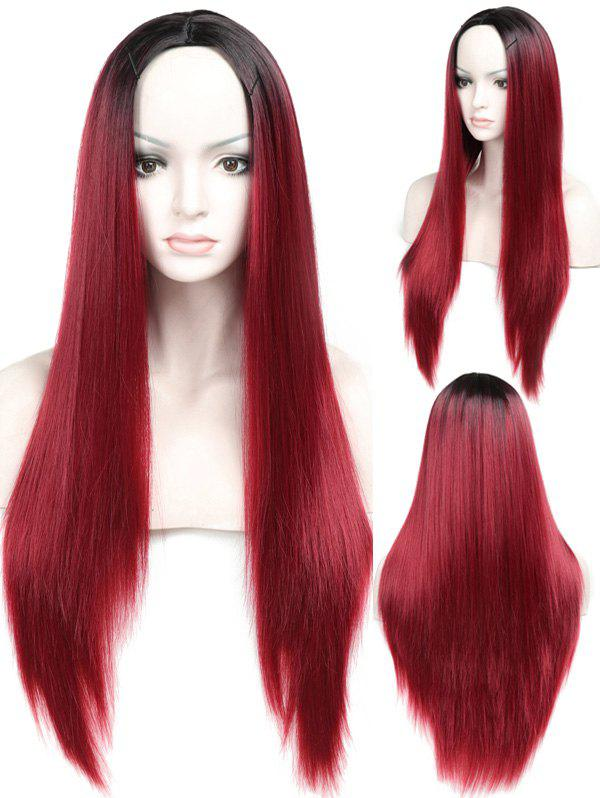 Chic Long Ombre Middle Part Straight Capless Synthetic Wig