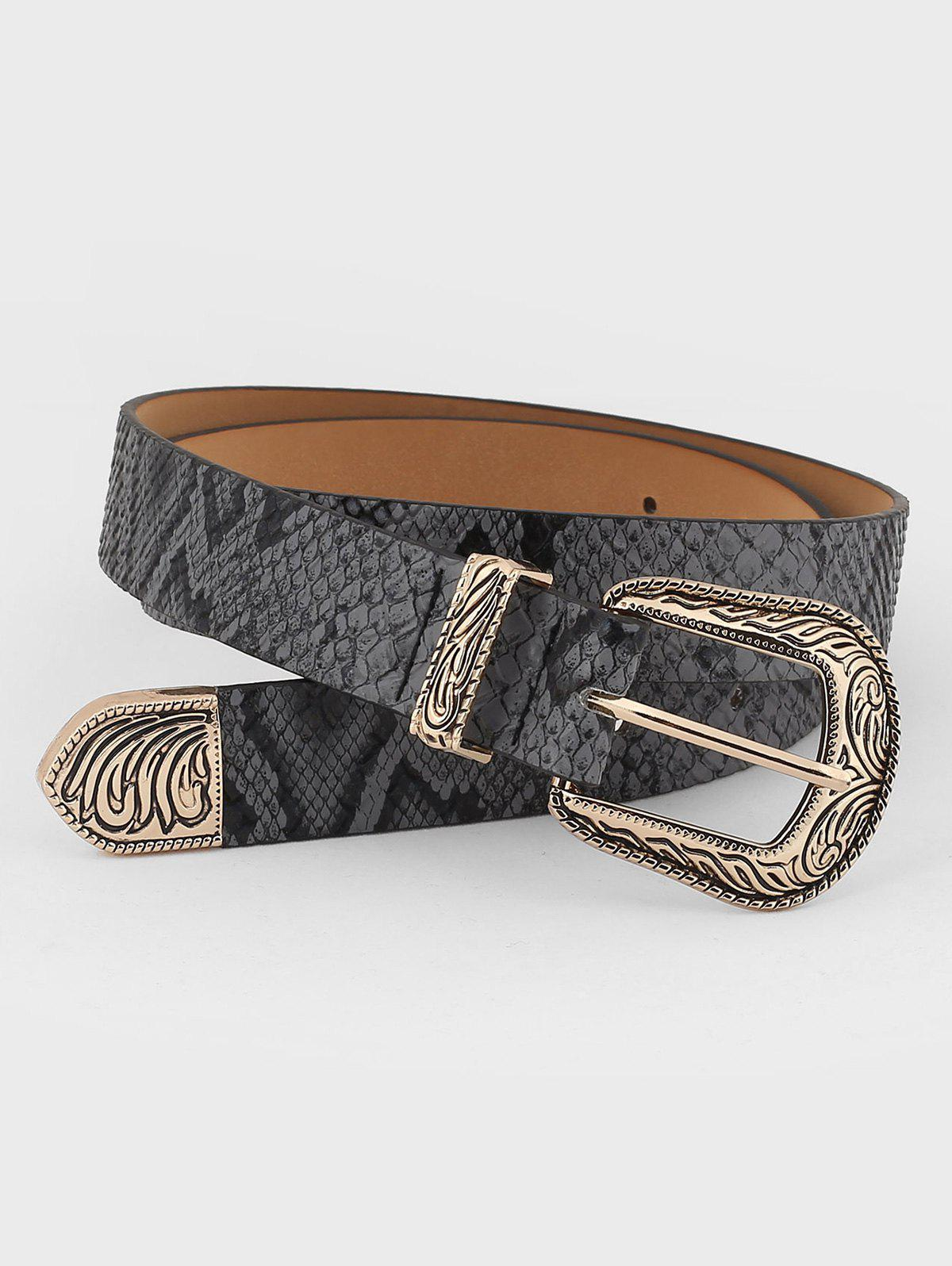 Affordable Retro Carved Buckle Faux Leather Belt