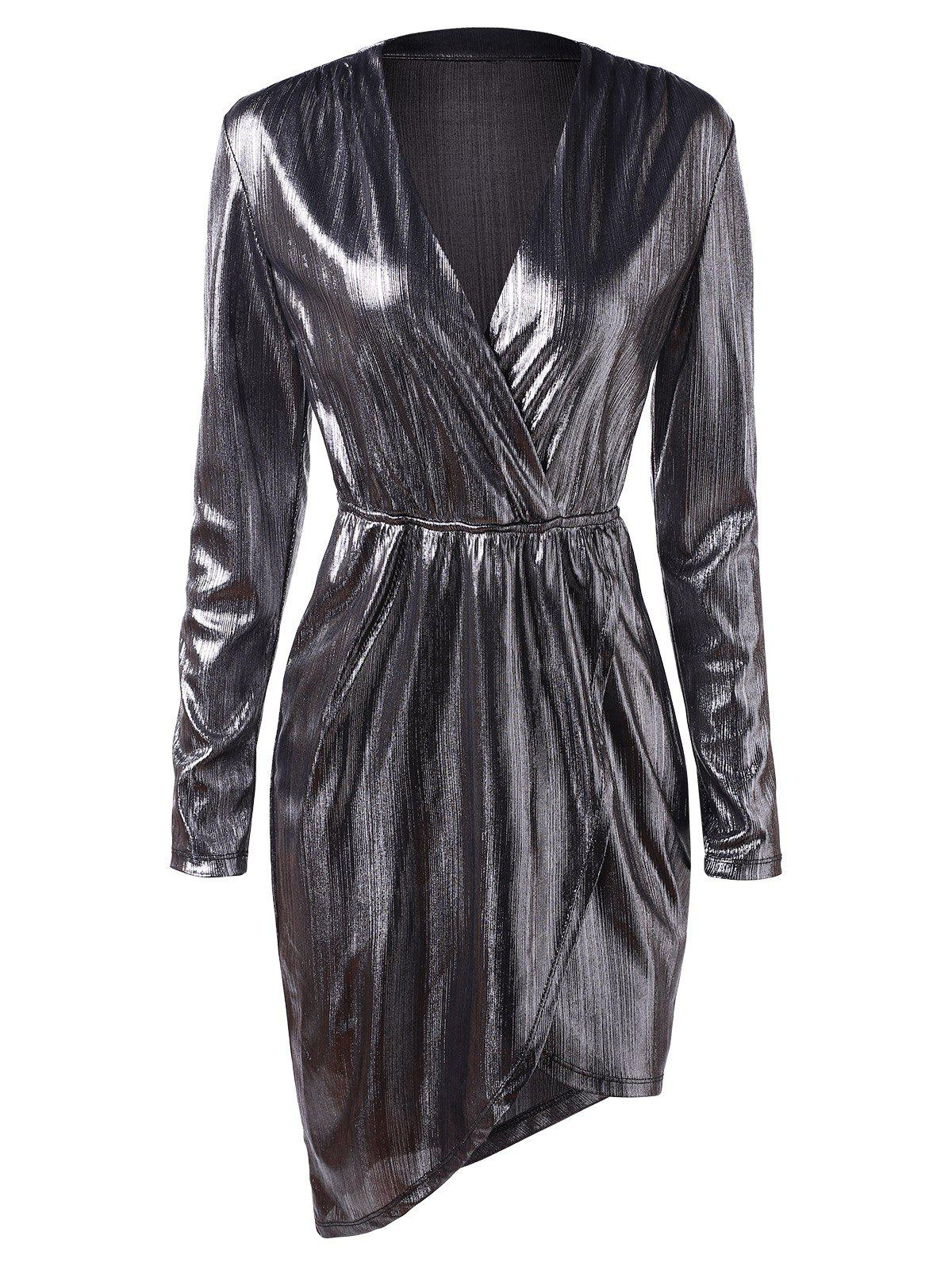 Shop Plunging Neck Metallic Party Dress