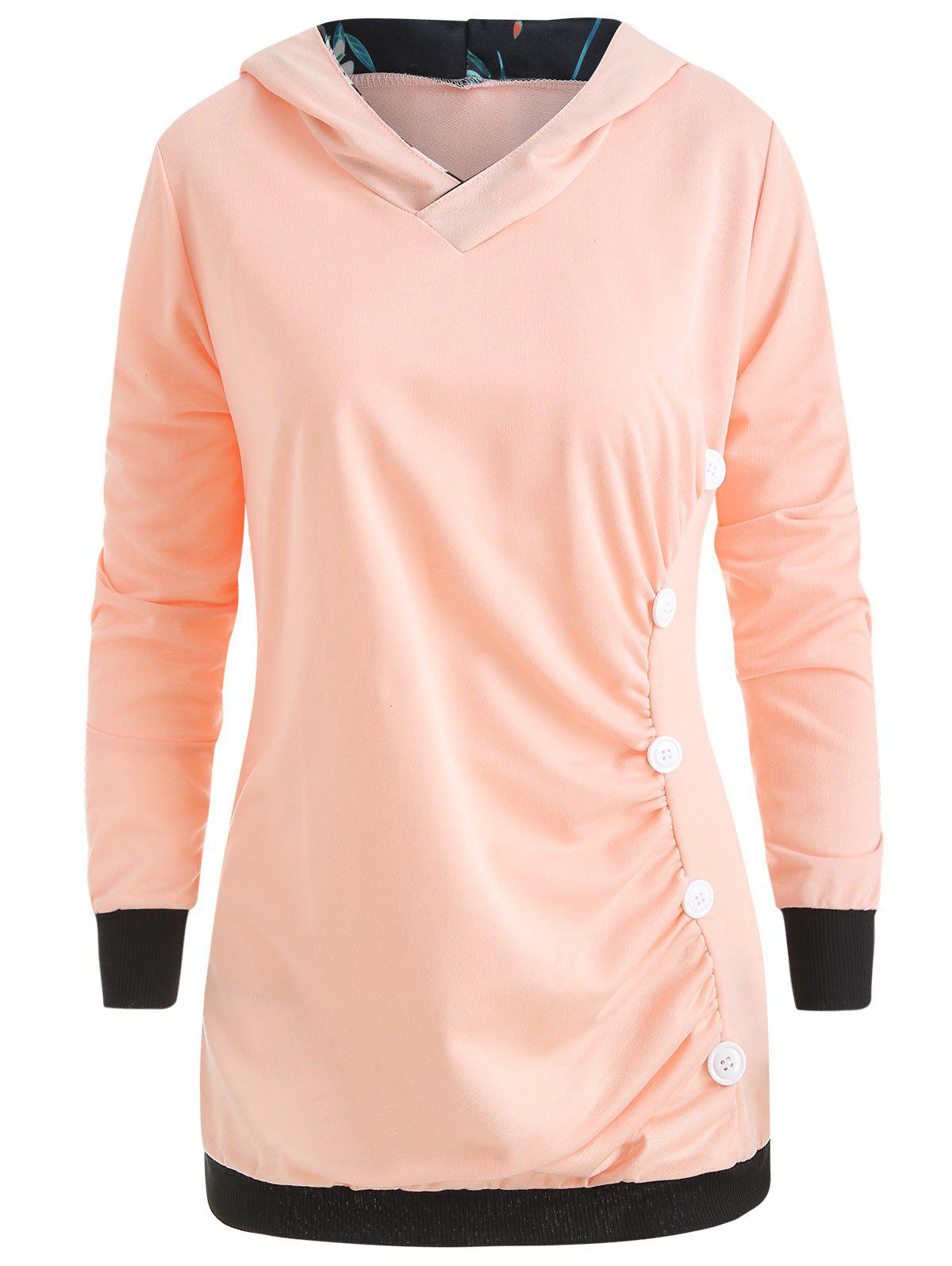 Fancy Long Sleeve Ruched Button Hoodie