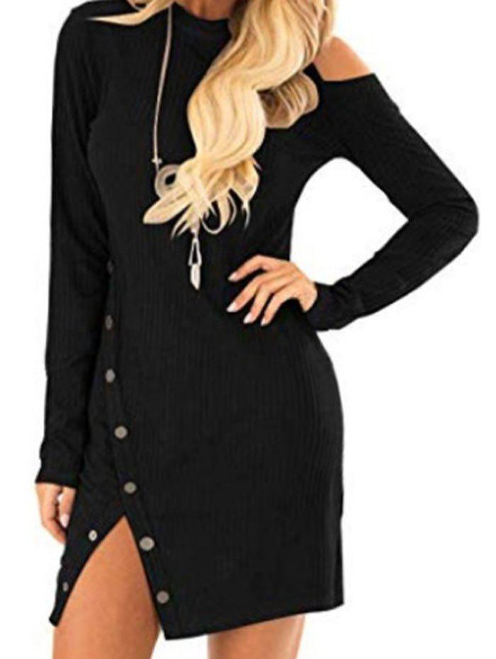 Fashion Knit Cut Out Long Sleeve Bodycon Dress