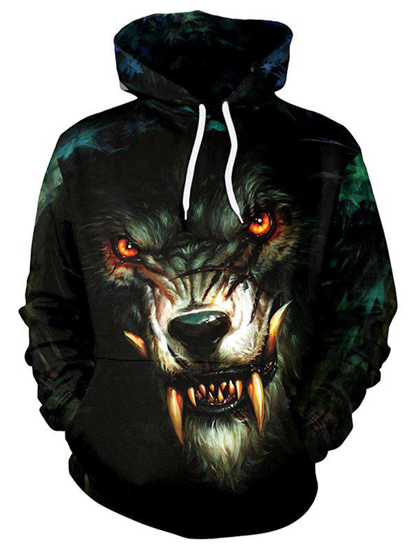 Affordable 3D Wolf Pattern Plus Size Drawstring Hoodie