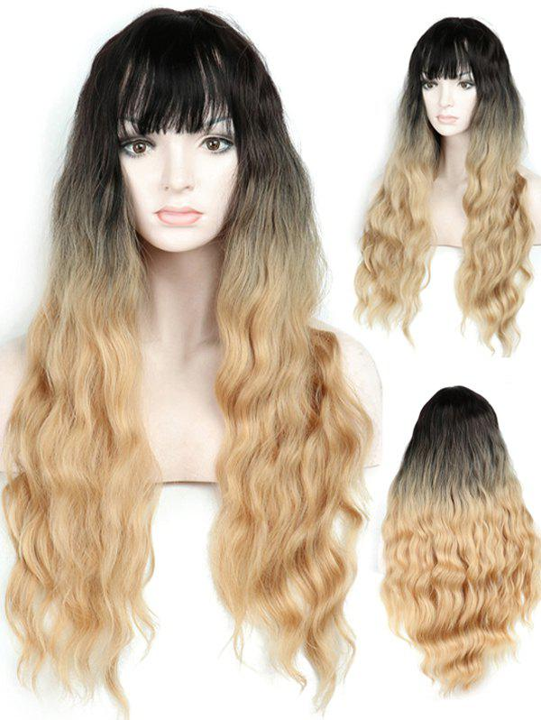 Best Full Bang Ombre Long Wavy Synthetic Wig