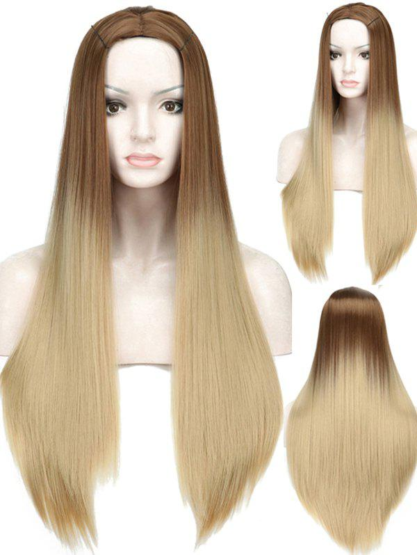 Online Long Ombre Center Parting Straight Capless Synthetic Wig