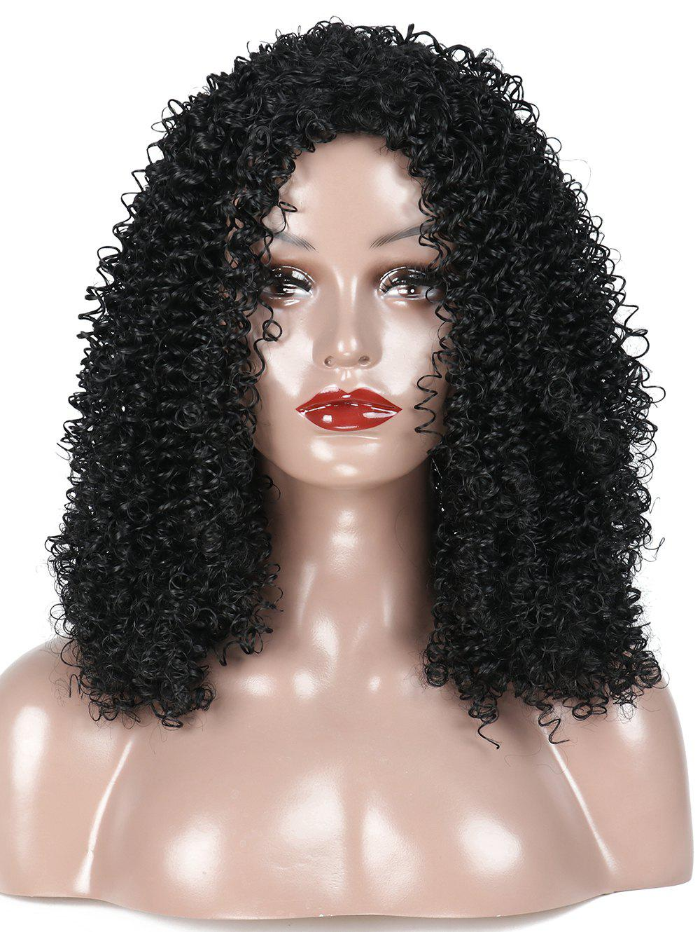 Store Medium Inclined Bang Kinky Curly Synthetic Wig