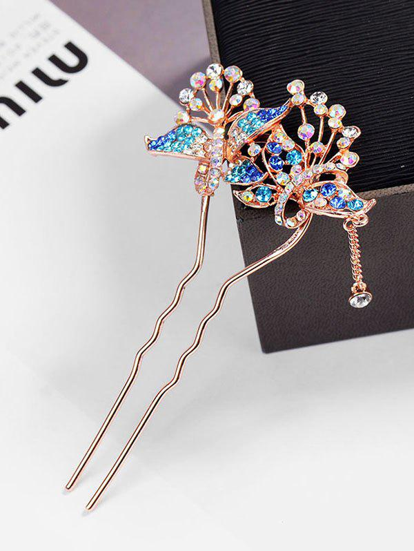Hot Colored Rhinestone Inlaid Butterfly Hair Fork