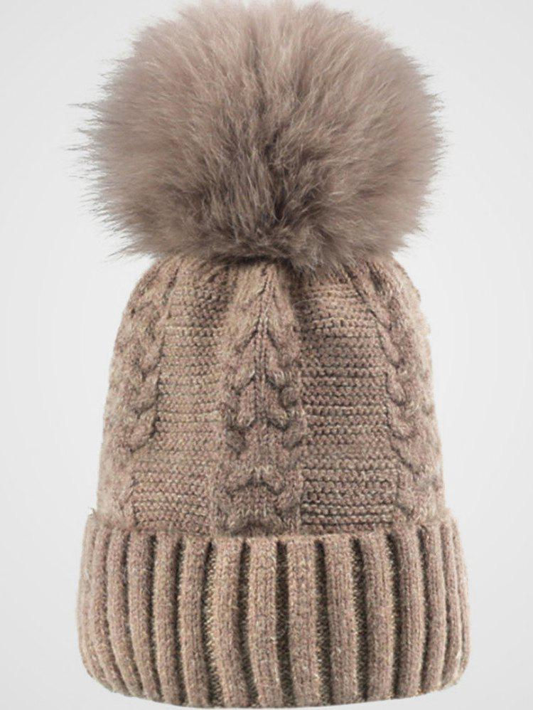 Outfits Winter Fuzzy Ball Embellished Knit Beanie